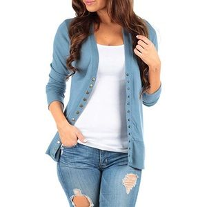 Women's Button Down Ribbed Cardigan